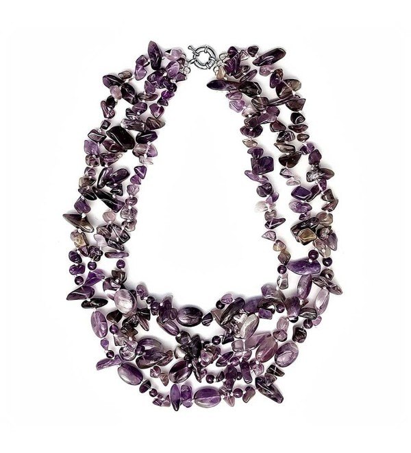 "Beautiful 18"" Amazing Purple Amethyst Beads Necklace 18 Inch - CU125OU6N8F"