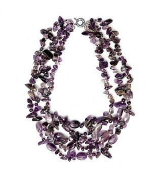 "Beautiful 18"" Amazing Purple Amethyst Beads Necklace 18 Inch - CU125OU6N8F"