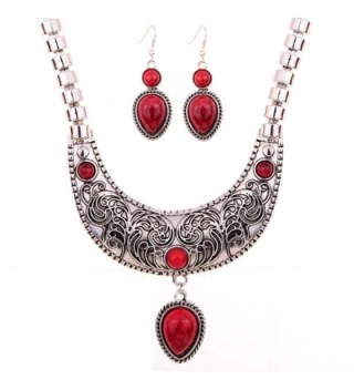 Yazilind Moon Carve Flower Pattern Turquoise Waterdrop Pendant Tibetan Silver Bib Necklace Earrings Set - Red - CY11IL4TQV3