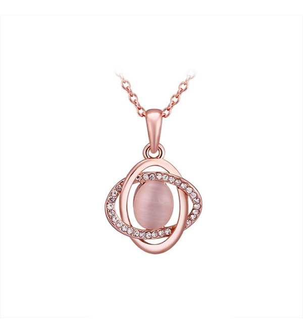 YamaziHD 18K Rose Gold Plated Shining Crystal Pink Opal Pendant Necklace for Women Fashion Jewelry - CW12ED4WHV5