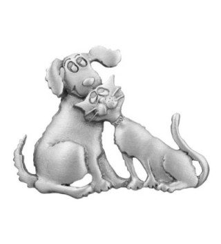 Dog and Cat Sitting Together - Pewter Cat Pin - CO123BWBG5D