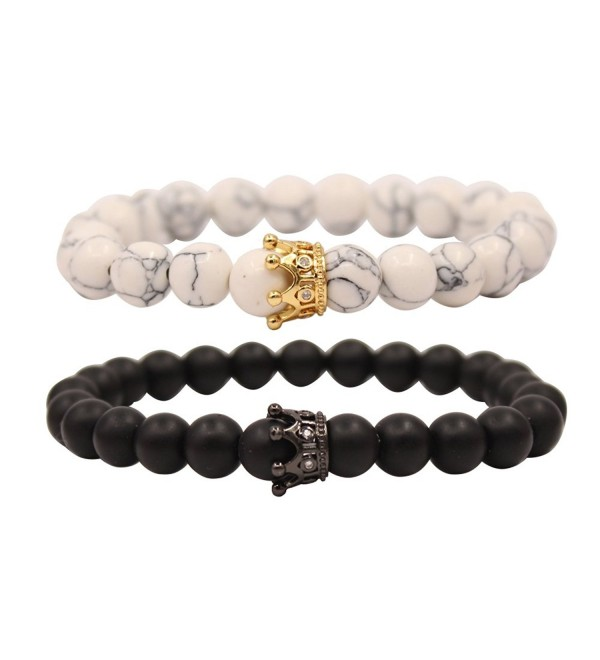 UEUC King&Queen Crown Couple Bracelets His and Her Friendship 8mm Beads Bracelet - Black/White Golden Crown - CC188TW9R7K