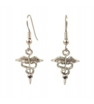 Surgical Steel Dangle Earrings Caduceus Silver Tone - C011P6EEH3D