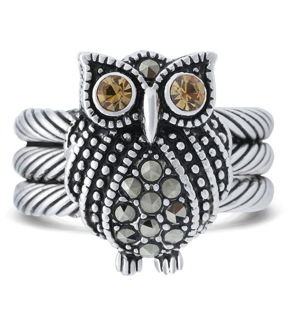 JanKuo Jewelry Black Rhodium Plated Owl with Champagne Color CZ & Marcasite Stones Ring - CB11EJBR4XT