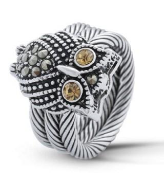 JanKuo Jewelry Rhodium Champagne Marcasite