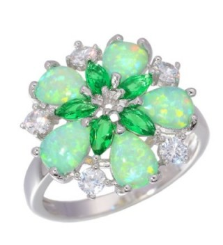 CiNily Green Fire Opal Emerald Rhodium Plated Zircon Women Jewelry Gemstone Ring Size 6-10 - CC182S5GGK7
