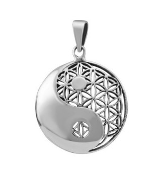 WithLoveSilver Sterling Silver 925 Charm Celtic Round Yin Yang Cut Out Flower of Life Pendant - CV11WUPMJ3B