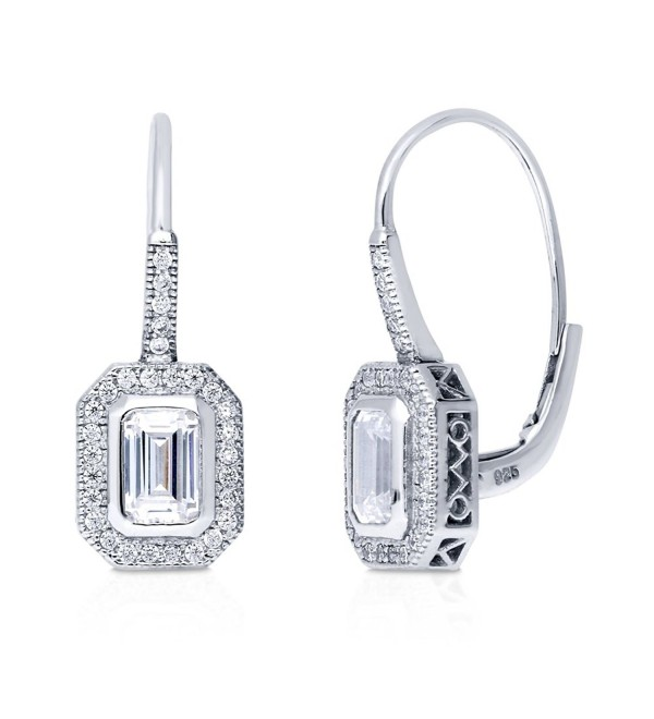 BERRICLE Rhodium Plated Sterling Silver Cubic Zirconia CZ Halo Leverback Dangle Drop Earrings - CE12KUQDZDT