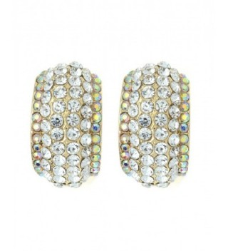 Women's Evening Gala Bridal Prom Wedding Clip On Earrings - Thick Arch - Clear/Gold-Tone - CP12EXK97UN