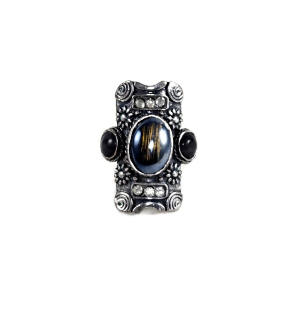 B You Adjustable Silver Tone Black with Gold Sheen Center Stone Gothic Ornate Rectangle Statement Big Ring - C617YTS765U