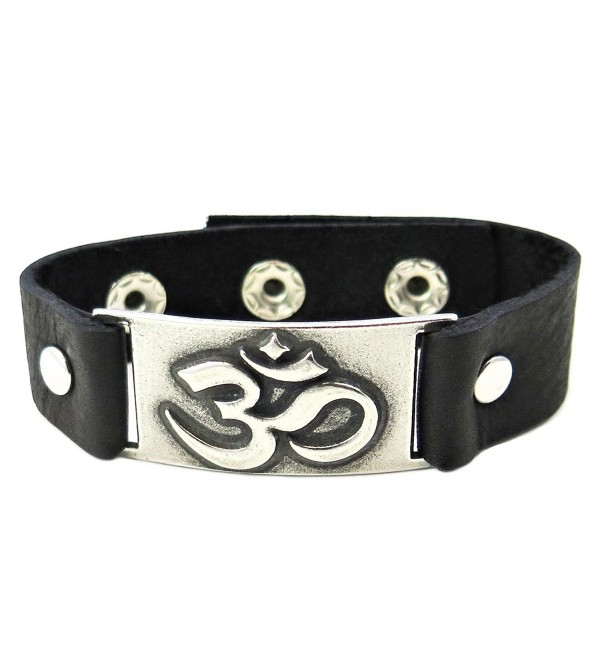 Om Bracelet- Black Leather- Adjustable - C411CTKKKNN
