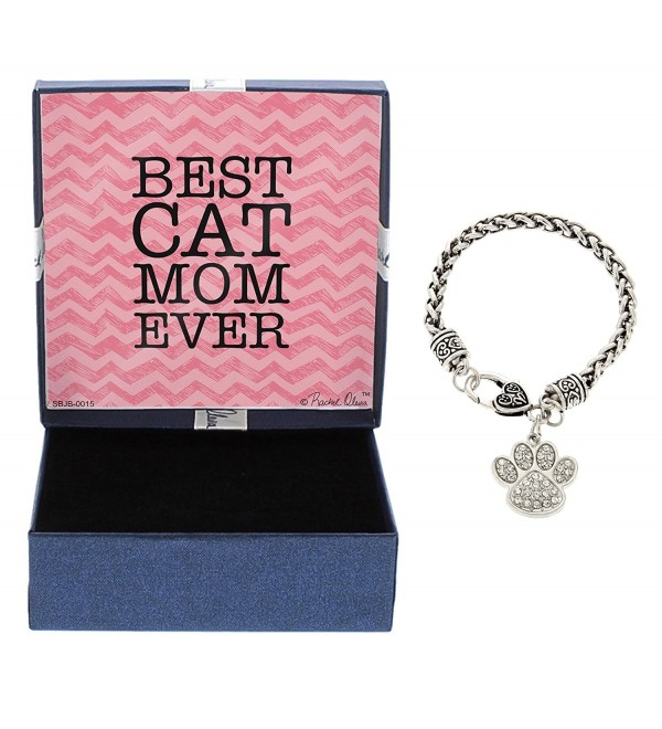 Best Cat Mom Ever Bracelet Silver-Tone Crystal Adorned Cat Paw Print Charm Bracelet Jewelry Box - C712NE3CH6U