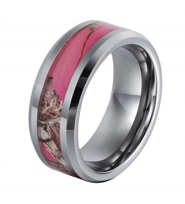 Will Queen TU 8 113 8mm Flowering Pink Tungsten Ring 4mm Width of Camo Inlay White Wedding Bands 6 5 - CF129UVDT4P