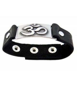 Om Bracelet Black Leather Adjustable