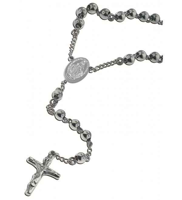"Catholic Stainless Steel Rosary Beads 24"" or 18"" Necklace with Crucifix and Miraculous Mary Medal - C511IFSJLKV"