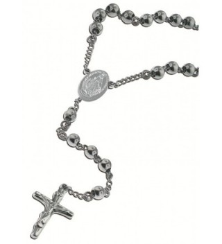 """Catholic Stainless Steel Rosary Beads 24"""" or 18"""" Necklace with Crucifix and Miraculous Mary Medal - C511IFSJLKV"""