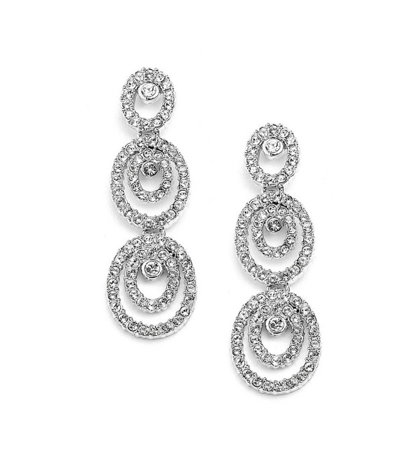 Mariell Concentric Ovals Genuine Platinum Plated Inlaid Pave CZ Wedding- Bridal & Bridesmaid Earrings - CZ11ZP7X60B