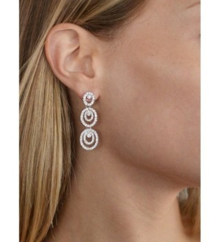 Mariell Concentric Platinum Bridesmaid Earrings in Women's Drop & Dangle Earrings