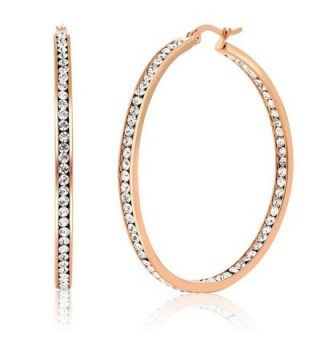 "2"" Stainless Steel Rose Gold Plated High Shine Inside-Out Hoop Earrings With CZ - CW11D0G1HP5"