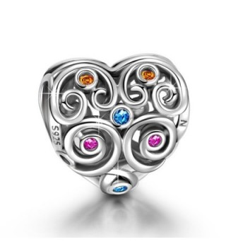 "NinaQueen ""Distinguished Heart"" 925 Sterling Silver Hollow Bead Charms - CY11Y257F2H"