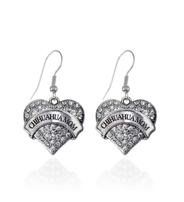 Chihuahua Mom Pave Heart Earrings French Hook Clear Crystal Rhinestones - CS1240JWEMP
