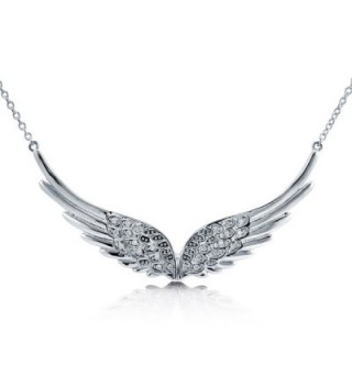 "Rhodium Plated Sterling Silver Cubic Zirconia CZ Angel Wings Pendant Necklace 14.5""+2"" Extender - C01105KWDLV"