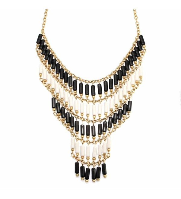 American Rag Necklace- 18-in Gold-Tone Black and White Lattice Fringe Statement Necklace - CZ11N5GIF91