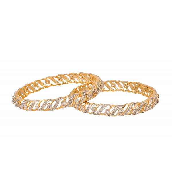 Touchstone gold and white tones charming indian bollywood wedding Czs studded jewellery bangle for women - C512O7X0Q9T
