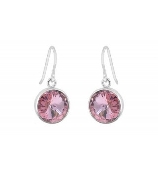 Women Round Drop Earrings With Swarovski Elements Crystals - Pink - CD12KNQV5SN