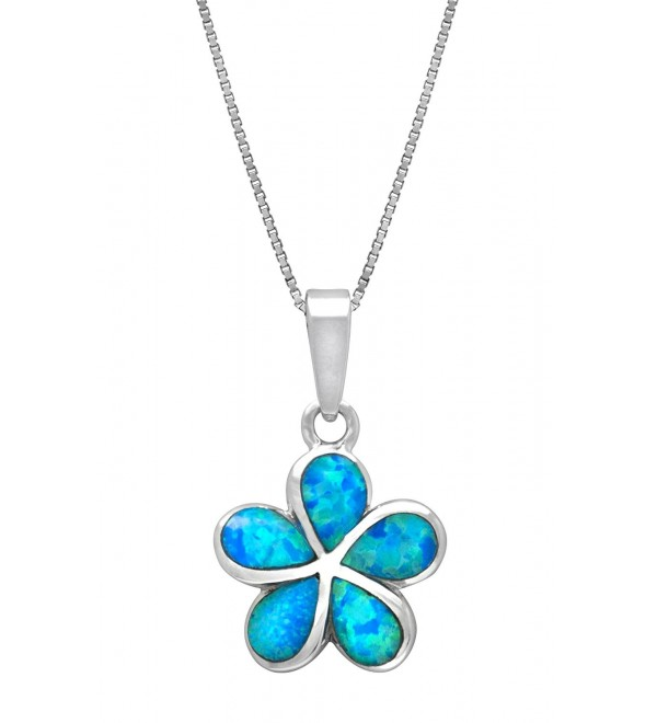 Sterling Silver Plumeria Flower Necklace Pendant with Simulated Blue Opal - CH11KX7NPCH