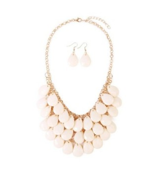 Riah Fashion Women's Floating Bubble Beaded Teardrop Statement Jewelry Necklace and Earrings - Natural - CG182IUIN9Q