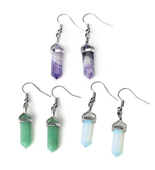 JOVIVI Womens Natural Amethyst Aventurine Rose Quartz Crystal Chakra Pendant Earrings Set - Mixde Stone 3Pairs - C011NRNE90B