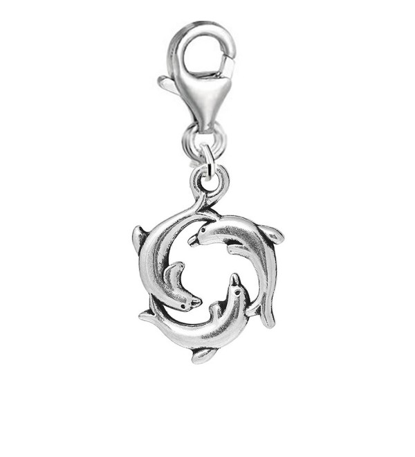 Round Sea Dolphin Clip on Pendant Charm for Bracelet or Necklace - CZ1224EM9FF