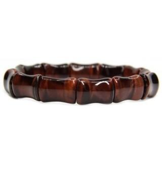 "Genuine Semi Precious Gemstone Bamboo Festival Beaded Stretchable Charm Bracelet 7"" - Red Tiger eye - C612H2G4H19"