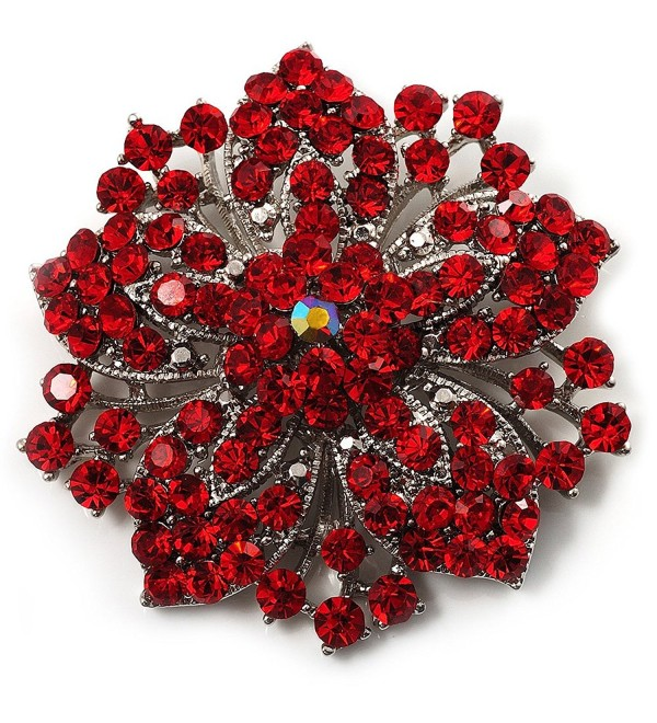 Victorian Corsage Flower Brooch (Silver&Bright Red) - CY113XL4AXH