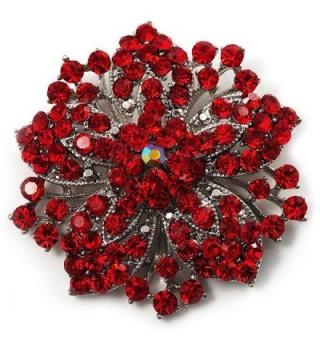 Victorian Corsage Flower Brooch (Silver&Bright Red) - CY113XL4AXH