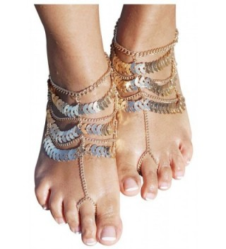 Women's Lady's 2 Piece Golden Multi layer Foot Chain Anklet Barefoot Sandals Beach Foot Jewelry - Gold - CT12EAKVOZV