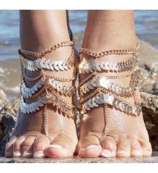Womens Golden Barefoot Sandals Jewelry