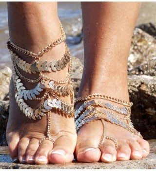 Womens Golden Barefoot Sandals Jewelry in Women's Anklets