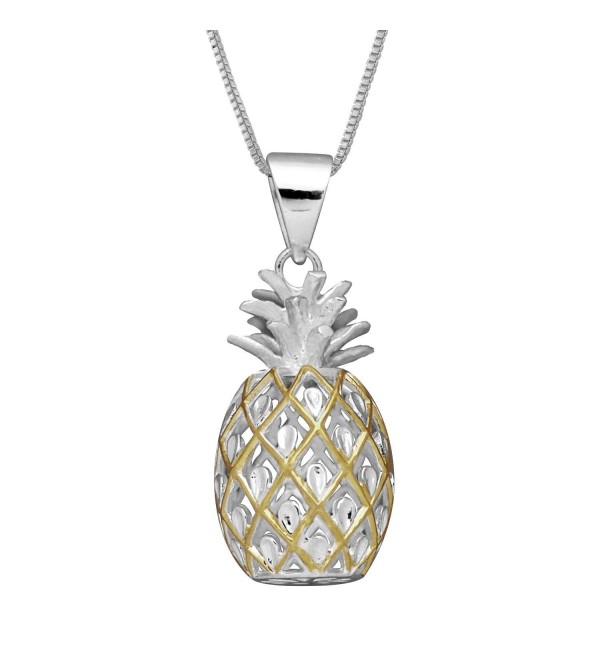 "Sterling Silver with 14kt Yellow Gold Plated Accents Medium Pineapple Pendant Necklace- 16+2"" Extender - CS1146OKWZL"