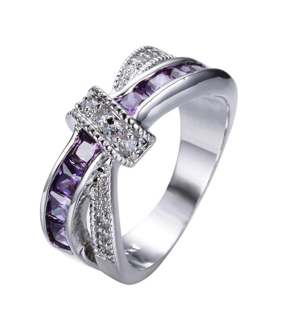 Rongxing Fashion Jewelry Purple Sapphire Womens Zircon Cross White Gold Wedding Ring Sets Size 6-10 - CD12BU13ZZV