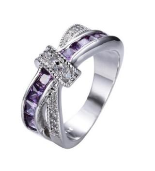 Rongxing Fashion Jewelry Purple Sapphire Womens Zircon Cross White Gold Wedding Ring Sets Size 6-10 - CD12BU13ZZV