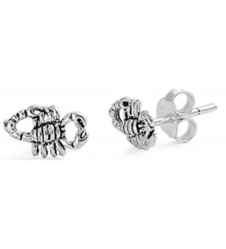 STERLING SILVER Silver Stud Earrings - Scorpion - CZ11PAA1R39