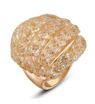 Mytys Gold Cocktail Ring Fishnet Cubic Zirconia Womens Fashion Rings - CF1283Z5E9H