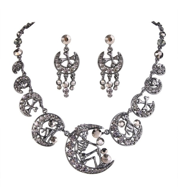 EVER FAITH Austrian Crystal Vintage Style Skull Cross Moon Necklace Earrings Set - Black Black-Tone - C011IO2S6TZ
