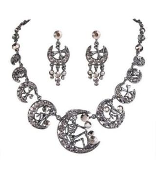 EVER FAITH Austrian Crystal Vintage Style Skull Cross Moon Necklace Earrings Set - Black Black-Tone - C011IO2S6TZ