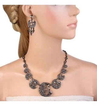 EVER FAITH Austrian Necklace Black Tone