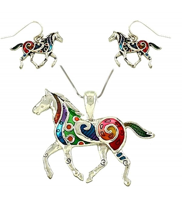 "DianaL Boutique Colorful Enameled Horse Pendant Necklace and Earrings Set- 24"" Chain - C611LFUZDNZ"