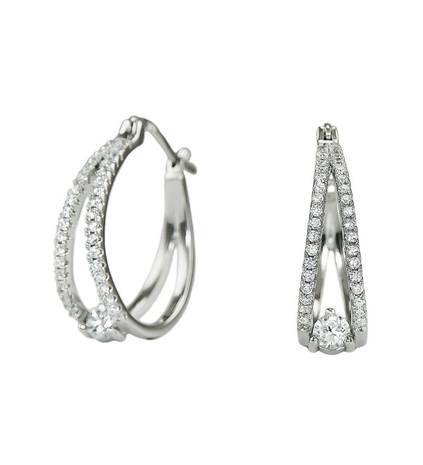 Platinum Plated 925 Sterling Silver Round Cubic Zirconia Pave Split Shank Huggie Hoop Earrings - CN183KMSLC5