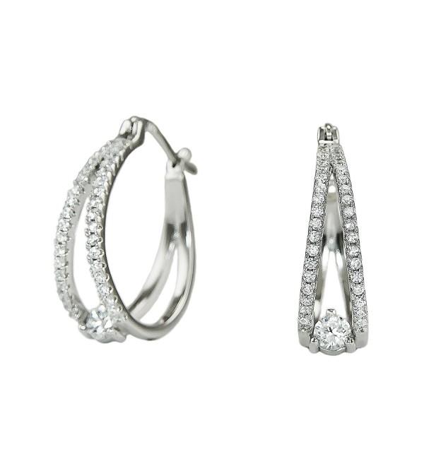 Platinum Plated 925 Sterling Silver Round Cubic Zirconia Pave Split Shank Huggie Hoop Earrings - CN183KMSLC5